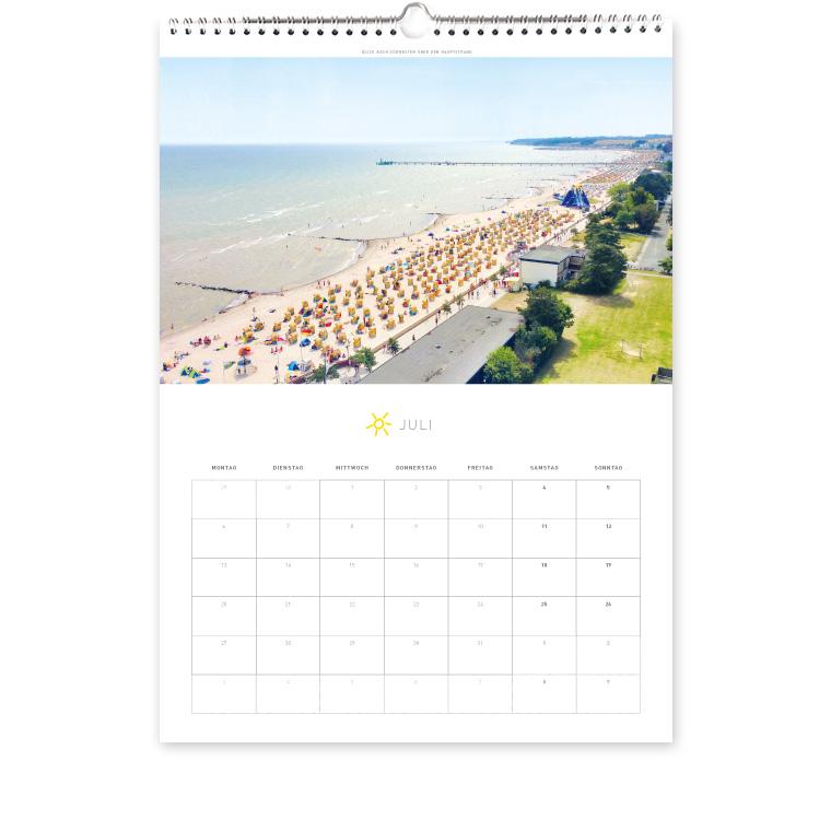 Grömitz Kalender A3 - Blick nach Südwesten über den Hauptstrand