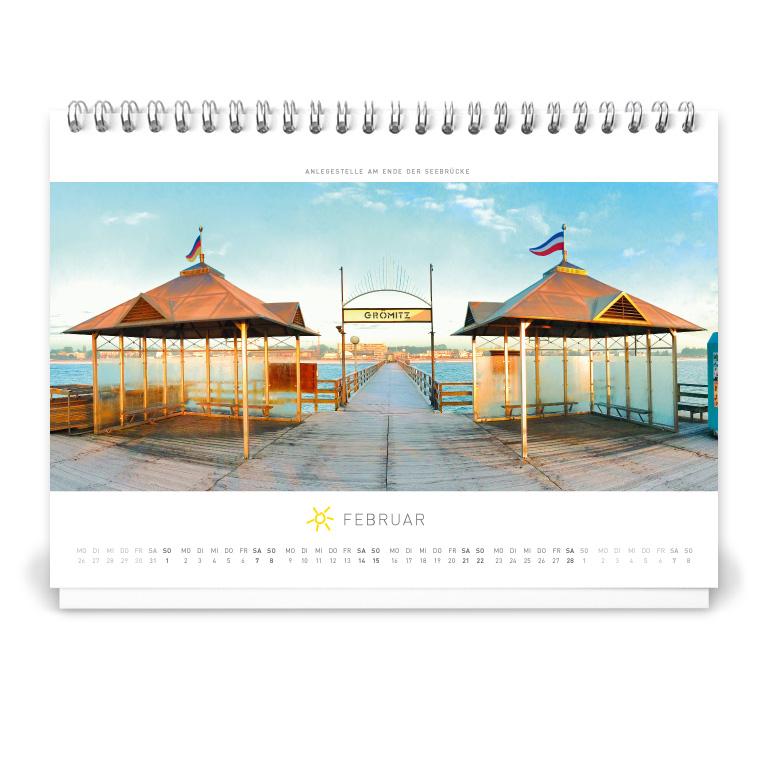 Grömitz Tischkalender A5 - Anlegestelle am Ende der Seebrücke
